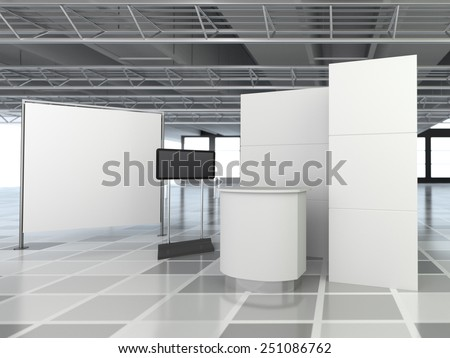 white booth or kiosk with wall and tv display. 3D rendering - stock photo