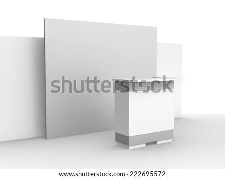 white booth or kiosk with wall in perspective view. render - stock photo