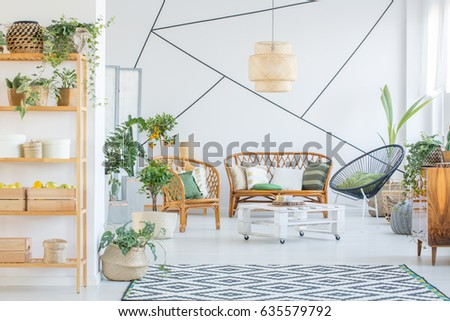 White, Botanic Living Room With Rattan Furniture Set