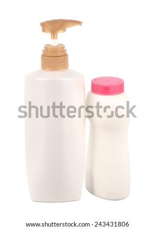 White Bottle and  Baby Powder isolated on white background - stock photo