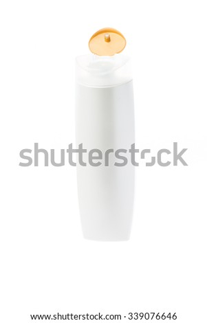 White bottle on white background.
