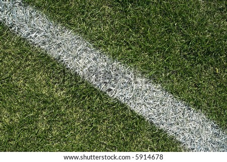 White boundary line of a generic playing field (football, soccer, baseball, rugby, cricket etc…) - stock photo