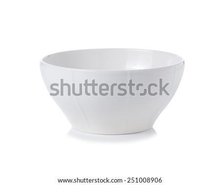 white bowl on white background - stock photo