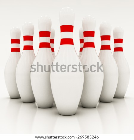 white bowling pins on a white background - stock photo