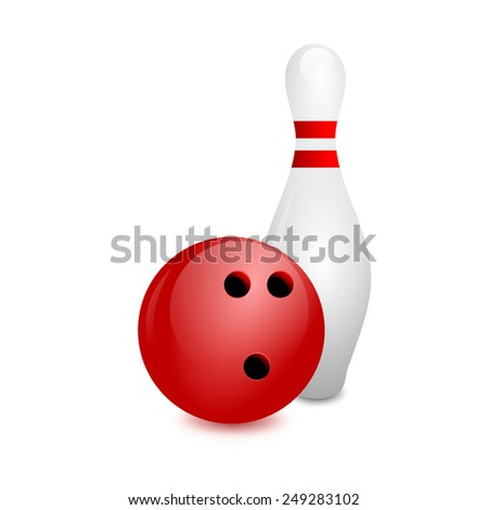 white bowling skittles and red ball on a white background - stock photo