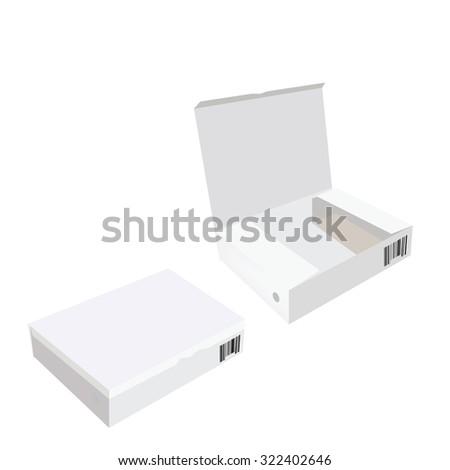 White box, cardboard box, software box, carton box, opened box, closed box - stock photo