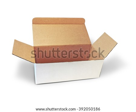 white box, cardboard, isolated on white background
