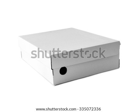 White box for footwear on a white background