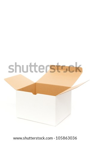 White box opening on white isolated - stock photo