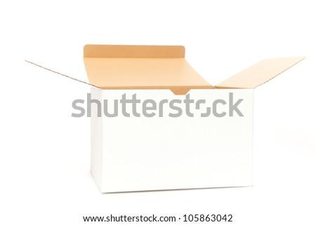 White box opening on white isolated - stock photo