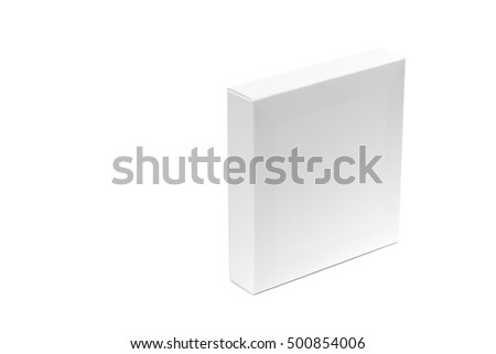 White box or white paper package box isolated with soft shadow on White background, and white space