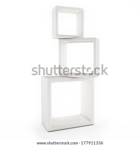 White Box Shelves Isolated on White Background - stock photo