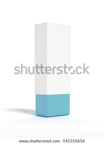 white box with blue bottom - stock photo
