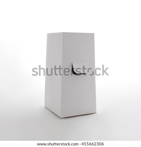 White box with hand holes on white background