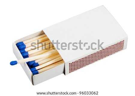 White box with matches over a white background - stock photo