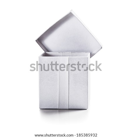 White box with ribbon isolated on white background clipping path included - stock photo