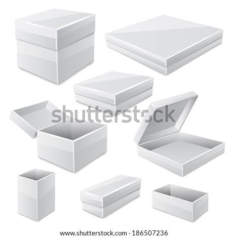 White boxes isolated on white. Raster copy. - stock photo