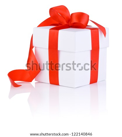 White boxs tied with a red satin ribbon bow Isolated on white background - stock photo