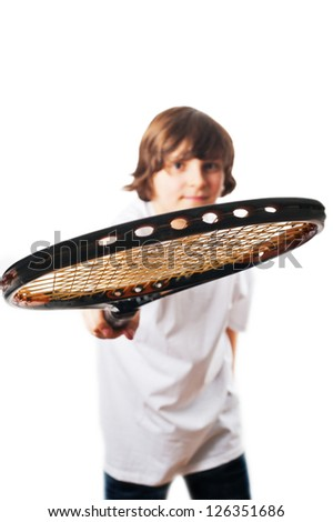 White boy with brown eyes and brown hair in a white T-shirt with the racket, white background - stock photo