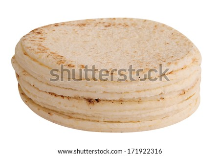 White bread. Arepas - stock photo