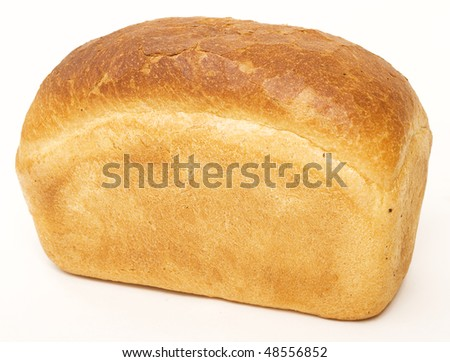 White bread loaf isolated on white background - stock photo