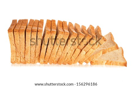 white bread on a white background, isolated - stock photo