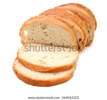 white bread slices on white background  - stock photo