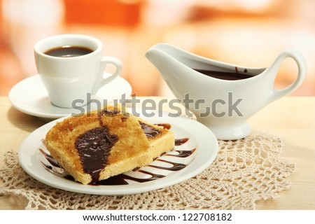 White bread toast with chocolate on plate in cafe