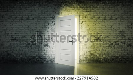 white brick room and open door light - stock photo