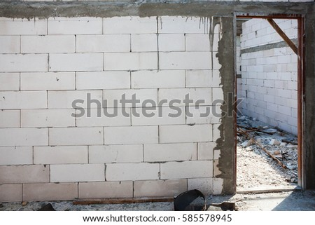 White Brick Wall Door Jamb Installation 库存照片(免版税) 585578945 ...
