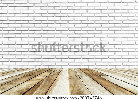 white brick wall and wood floor background - stock photo