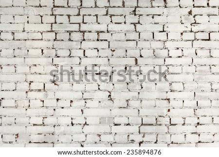 White brick wall background texture. - stock photo