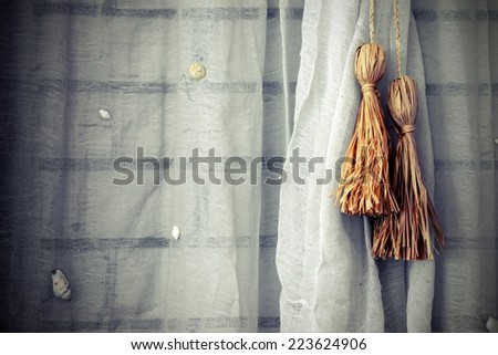 White Brick Wall Decorated With  Net Curtain. Background and Texture for text or image. - stock photo