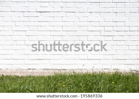 White brick wall made of bricks. Place for text