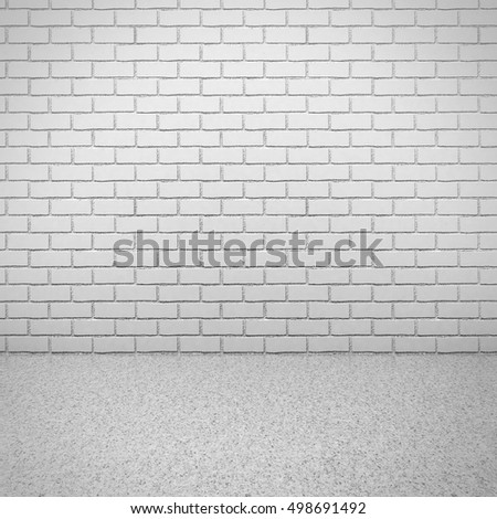 White brick wall with concrete floor. empty room interior. 3d render illustration