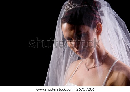 White Bride at her wedding posing with veil