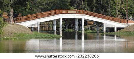 white Bridge at sunset - stock photo