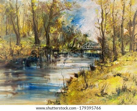 White bridge over the river, oil painting art background - stock photo