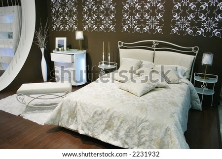 white brown bedroom
