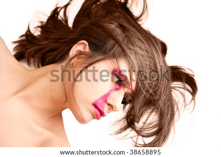 White brunette on white background. Isolated