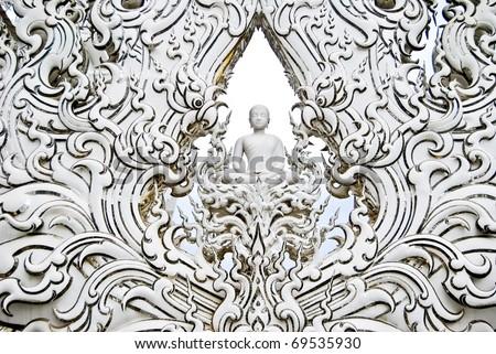 White Buddha art in the White Buddha temple , Asia , Thailand - stock photo
