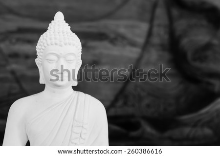 white buddha Black and White - stock photo