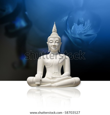 White buddha, isolated against blue background (incl. clipping path) - stock photo