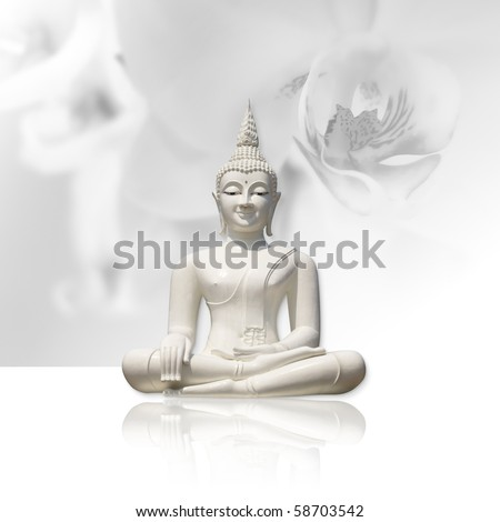 White buddha, isolated against light grey orchid background (incl. clipping path)