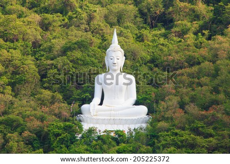 White Buddha Statue in Mountain , Thailand - stock photo