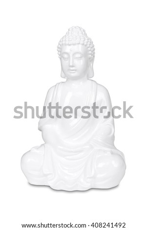 White Buddha statue isolated on white with clipping path. - stock photo
