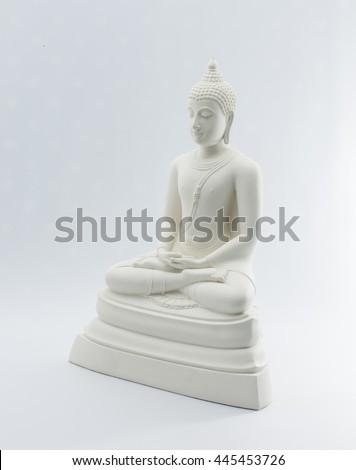 White buddha statue on white background - stock photo