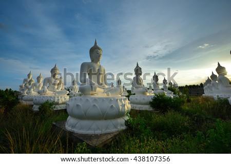 White Buddha Statue Park Thailand - stock photo