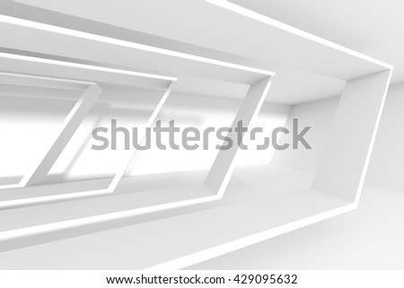 White Building Construction. Abstract Architecture Background. 3d Rendering of Interior Design - stock photo