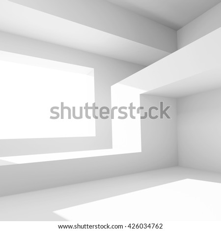 White Building Construction. Abstract Interior Background. 3d Rendering